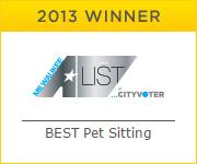 2013 A List Winner Pet Sitting - Milwaukee, Shorewood, Brookfield, New Berlin, Kenosha, Wauwatosa